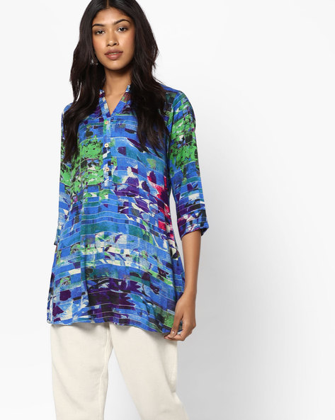 Printed Tunic With Button Placket By SOCH ( Royalblue )