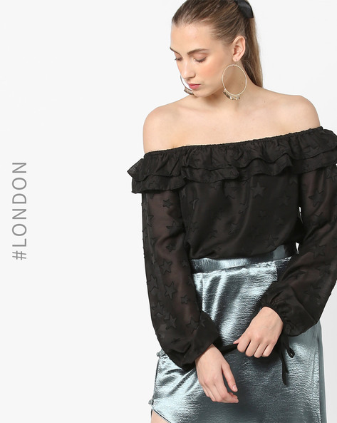 Star Print Off-Shoulder Blouson Top By Glamorous ( Black )