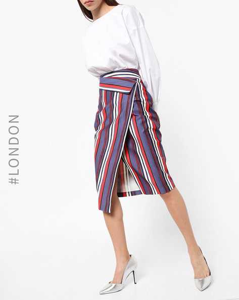 Striped Midi Tapered Skirt With Slit By Closet London ( Multi )