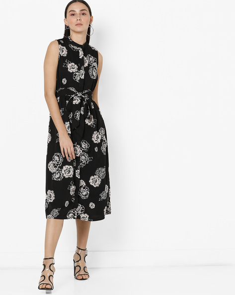 Floral Midi Dress With Tie-Up By Oxolloxo ( Black )
