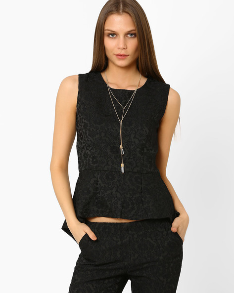 High-Low Peplum Top By AJIO ( Black )