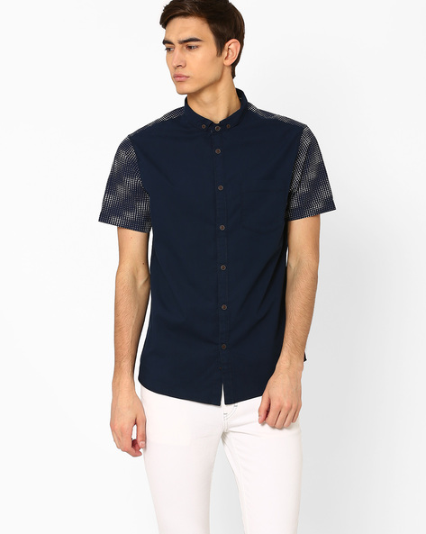 Shirt With Printed Panels By AJIO ( Navy )