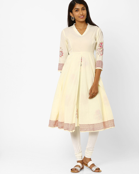 Fit & Flare Dress With Floral Motifs By AJIO ( Offwhite )