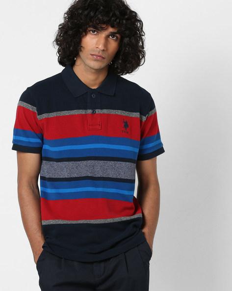 Yarn-Dyed Colourblock Polo T-shirt By US POLO ( Navy )