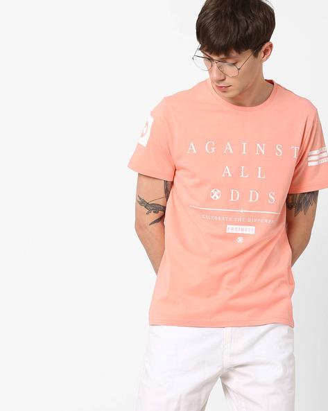 Typographic Print Slim Fit T-shirt By AJIO ( Pink )