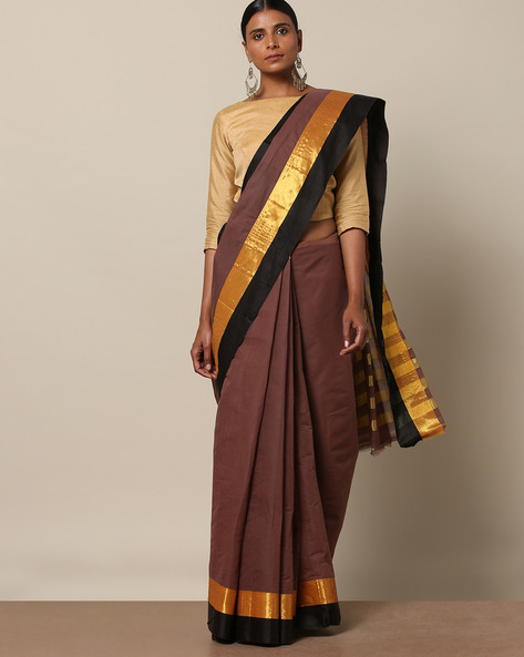 Cotton Saree With Contrast Border By Indie Picks ( Brown )