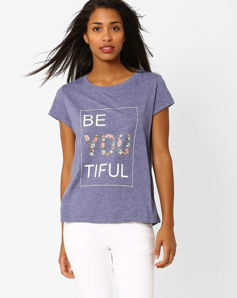 Graphic Print Crew-Neck T-shirt By Vero Moda ( Blue )