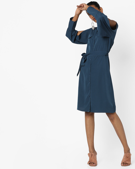 Shirt Dress With Slit Sleeves By AJIO ( Blue )