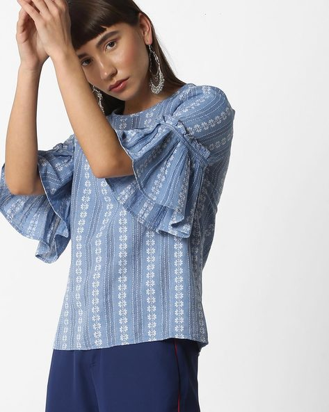 Floral Print Embroidered Top By Oxolloxo ( Blue )