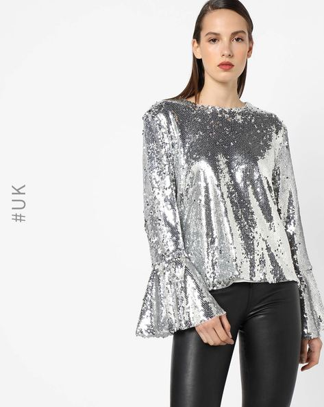 Sequinned Top With Bell Sleeves By OEUVRE ( Silver )