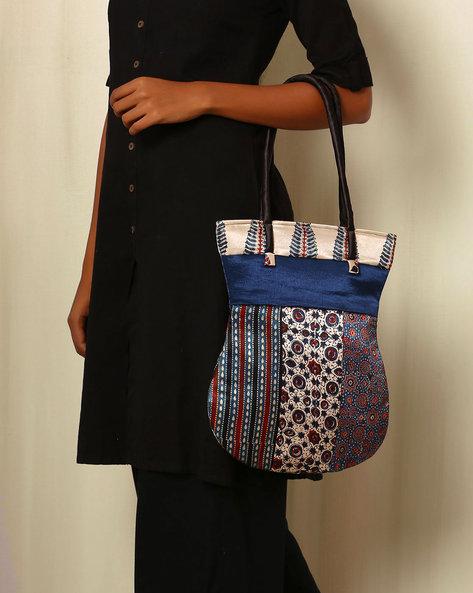 Handblock Print Mashru Silk Tote Bag By Indie Picks ( Multi )