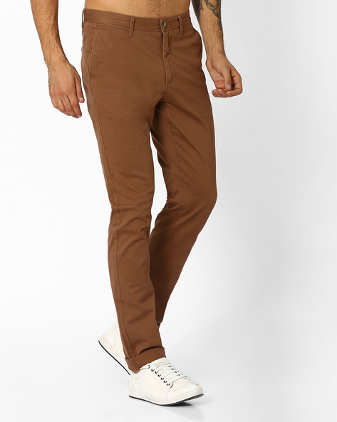 Slim Fit Flat-Front Trousers By US POLO ( Khaki )
