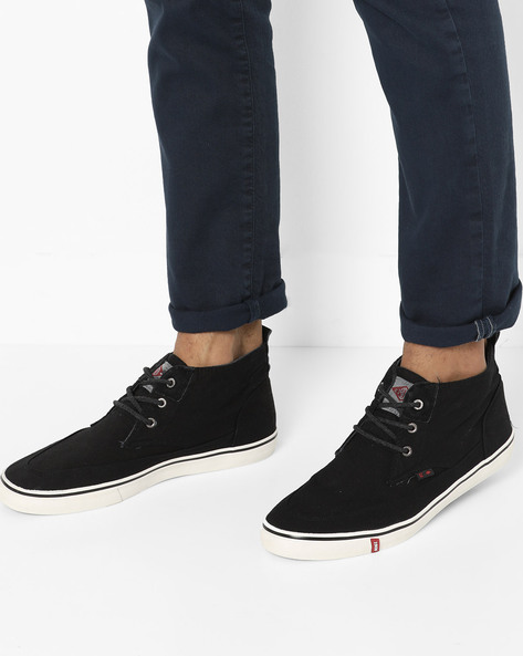 Mid-Top Lace-Up Casual Shoes By Lee Cooper ( Black )