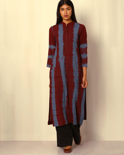 Tie-and-Dye Cotton Kurta By Sanyogini ( Maroon )