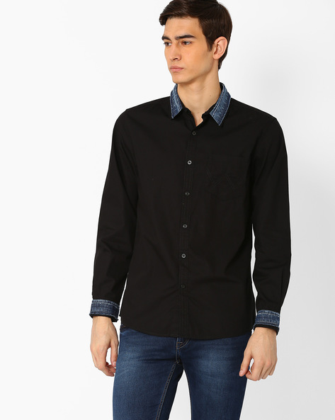 Poplin Mix & Match Shirt With Denim Overlay By WRANGLER ( Black )