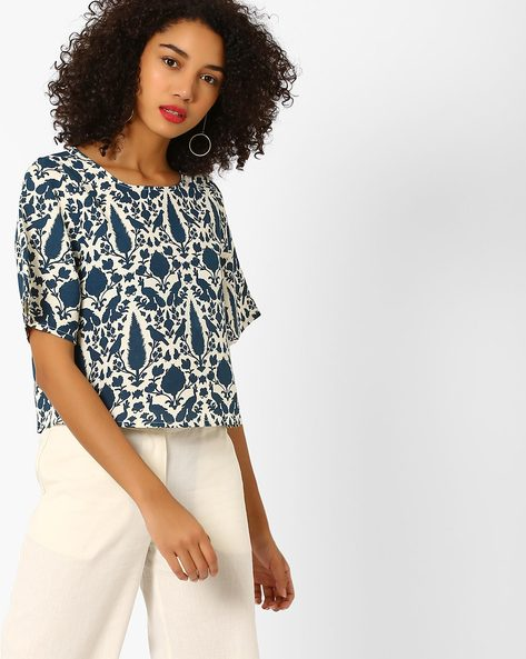 Printed Crop Top With Flared Sleeves By AJIO ( Indigo )