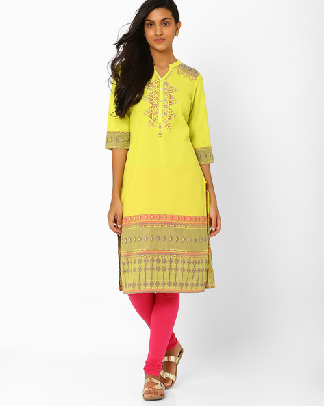 Printed Kurta With Button Placket By AURELIA ( Green )