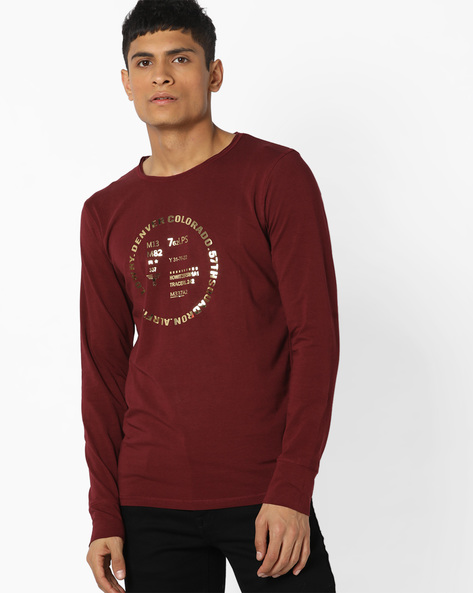 Printed Sweatshirt With Stitch Accent By RexStraut JEANS ( Maroon )