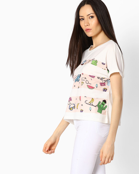 Printed Top With Extended Sleeves By RIO ( Offwhite )
