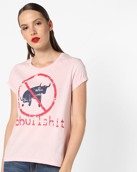 Graphic Print T-shirt With Upturned Hems By AJIO ( Pink )