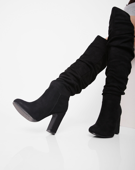 Block Heeled Knee Boots By Truffle Collection ( Black )