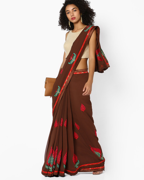 Saree With Embroidery By Arissa ( Brown )