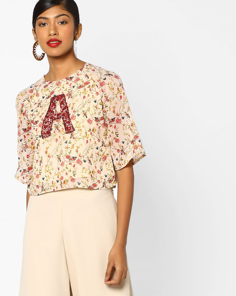 Floral Print Crop Top With Embroidery By AJIO ( Offwhite )