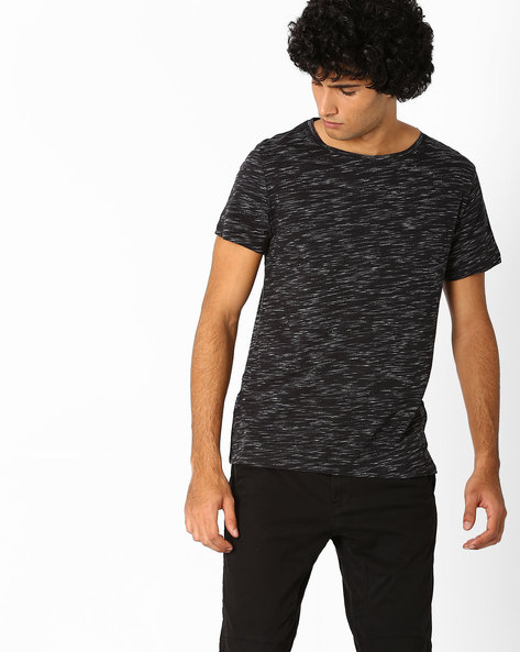 Heathered Slim Fit T-shirt By Blue Saint ( Black )