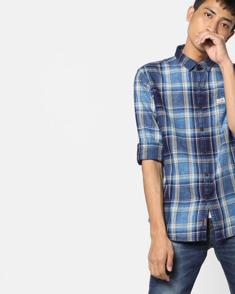 Checked Cotton Slim Fit Shirt By US POLO ( Indigo )
