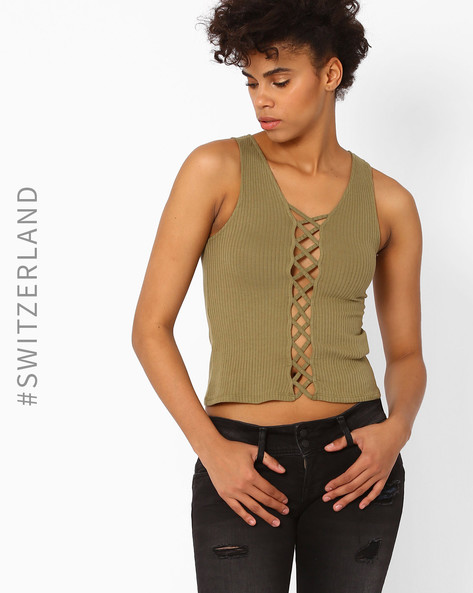 Ribbed Crop Top With Cutouts By TALLY WEiJL ( Olive )