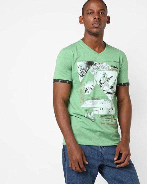 V-neck Graphic Print T-shirt By DUKE ( Dkgreen )