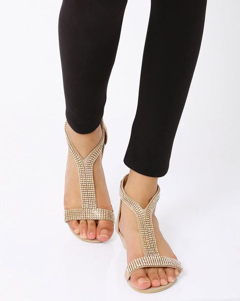Embellished Wedge Heel Sandals By Carlton London ( Champagne )