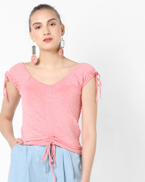Panelled Top With Tie-Ups By AJIO ( Coral )