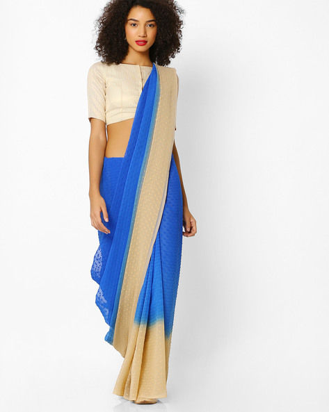 Embroidered Saree With Contrast Border By Florence ( Blue )