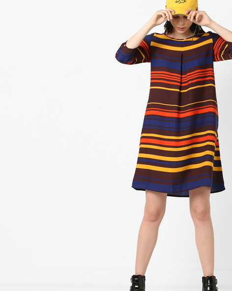 Colourblock Striped Shift Dress By Project Eve WW Casual ( Brown )