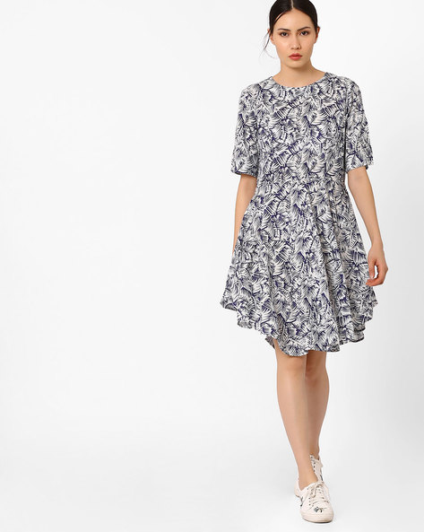 Tropical Print Fit & Flare Dress By CHM ( Multicolour )