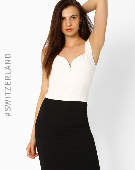 Crop Top With Sweetheart Neckline By TALLY WEiJL ( Offwhite )