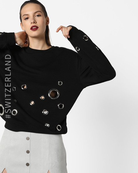 Boxy Sweatshirt With Metallic Ring Detail By TALLY WEiJL ( Black )