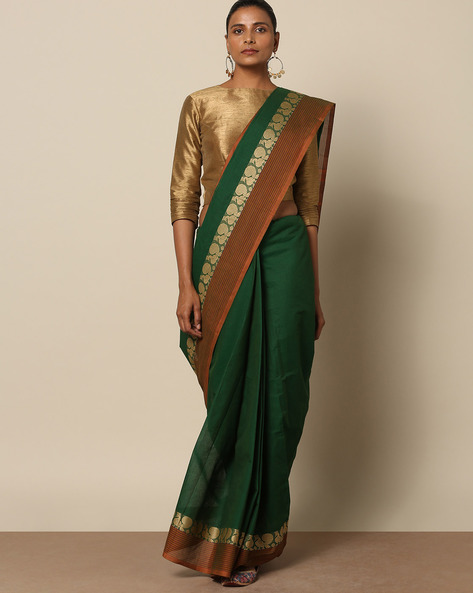 Kanchi Cotton Saree With Woven Border By Indie Picks ( Green )