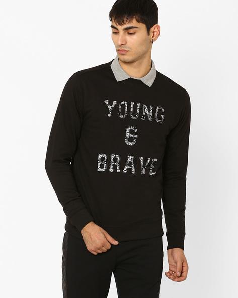 Regular Fit Sweatshirt With Printed Applique By AJIO ( Black )