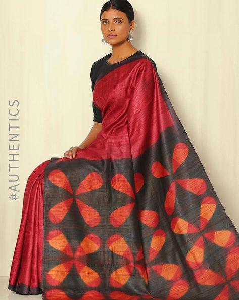 Handblock Print Pure Silk Desi Tussar Handloom Saree With Itajime Pallu By Sujata Weaves And Prints ( Red )