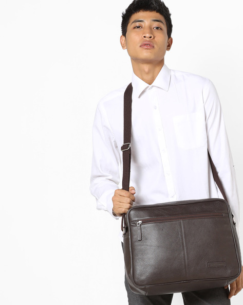 Genuine Leather Messenger Bag By JUSTANNED ( Brown )