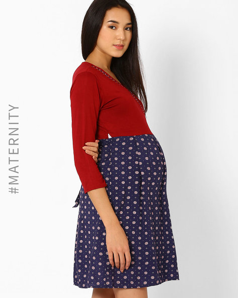Floral Print Maternity Wrap-Around Dress With Rhinestones By Preggear ( Multi )