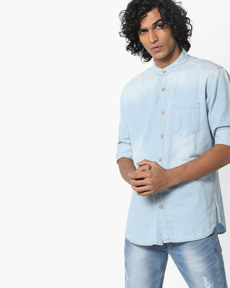 Slim Fit Shirt With Mandarin Collar By Highlander ( Lightblue )
