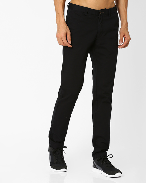 Tapered Fit Dobby Chino Trousers By BASICS ( Black )