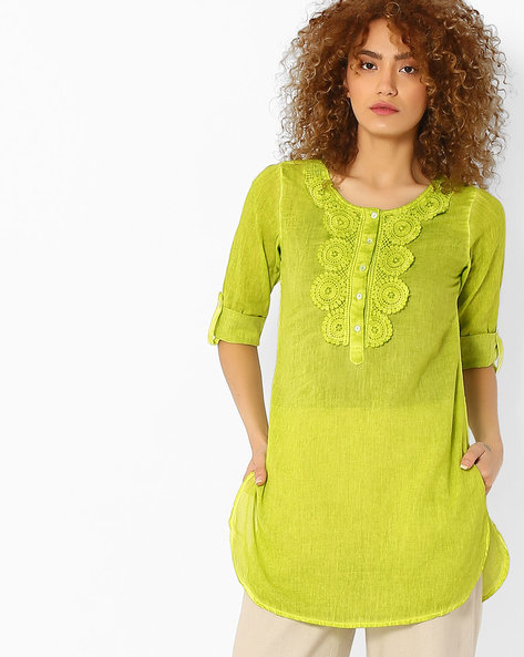Kurti With Crochet Overlay By Melange By Lifestyle ( Lime )
