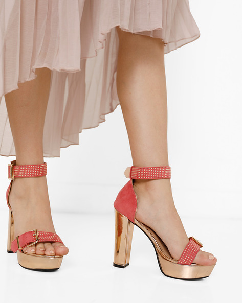 Heeled Sandals With Buckle Closures By MFT Couture ( Fuchsia )