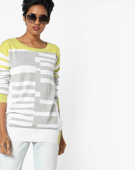 Striped Pullover With Ribbed Hems By Lee ( Yellow )