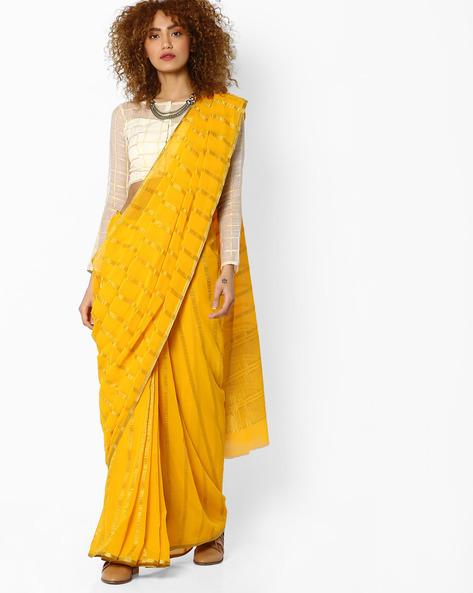 Striped Saree With Zari Border By Amori ( Yellow )