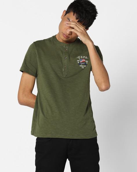 Slub Knit Henley T-shirt By US POLO ( Olive )